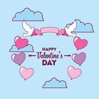 Valentinstag Design mit fliegenden Tauben vektor