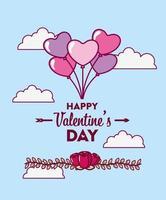Alla hjärtans dag design med ballonger vektor