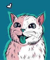 Vektor der weißen Katze mit seiner grünen Zunge heraus