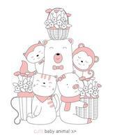 Karikatur niedliche Tierbabys mit einem Blumenkorb. handgezeichneter Stil. vektor