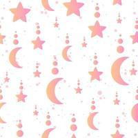minimalistisches himmlisches nahtloses Muster mit Monden und Sternen vektor