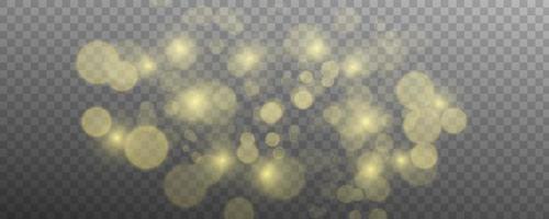 verschwommenes Licht funkeln Elemente. Glitzer isoliert auf transparentem Hintergrund. vektor