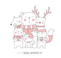 Cartoon niedlichen Tierbabys. handgezeichneter Stil. vektor