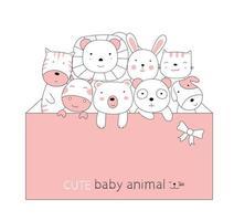 Cartoon niedliche Tierbabys mit einem rosa Umschlag. handgezeichneter Stil. vektor