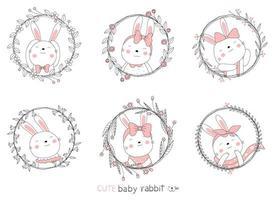 Cartoon schöne Kaninchen und Blumenrahmen. handgezeichneter Stil. vektor