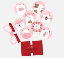 Cartoon niedliche Tierbabys mit rosa Ballon und Geschenkbox. handgezeichneter Stil. vektor