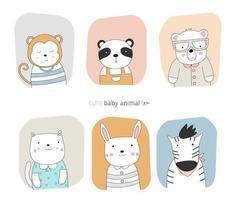 Cartoon-Tierbabys mit Rahmenfarbhintergründen. handgezeichneter Stil. vektor