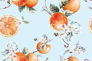 sömlösa mönster av mandariner vektor