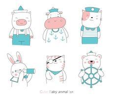 handgezeichneter Stil. Cartoon Tierbabys tragen Matrosenanzüge vektor