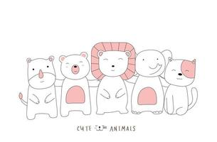 handgezeichneter Stil. Cartoon skizzieren die niedlichen Haltung Tierbabys vektor