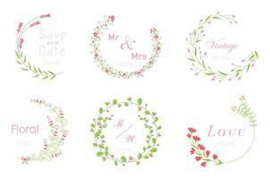 Kartensatz mit Blumenrahmen. Hochzeitsverzierungskonzept. vektor