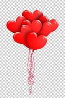 fröhlichen Valentinstag. Bündel roter Luftballons in der Form des Herzens auf transparentem Hintergrund. vektor