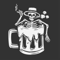 ein Schädel mit einem Hut, der eine Zigarette hält, die in einem Bierglas eingeweicht wird vektor