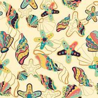 nahtloses Muster mit Seesternen, Muscheln, Austern und Muscheln vektor