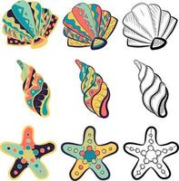 kleine Packung mit Meereselementen - Muscheln, Muscheln, Austern und Seesterne. vektor