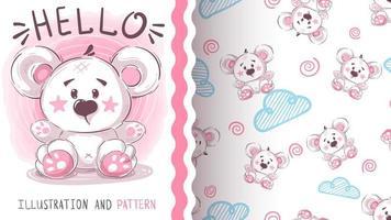 söt isbjörn sömlösa mönster vektor