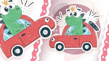Dino fahrendes Auto im Aufkleberstil vektor