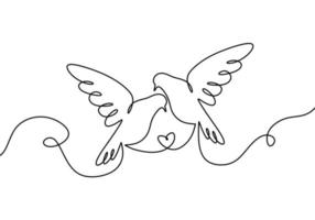 ein paar verliebte Vögel. eine durchgehende Strichzeichnung, zwei fliegende Taubenvögel. vektor