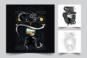 uggla orm konstverk illustration vektor