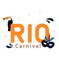 rio karneval. brasiliansk karneval med toco-tukan och mask vektor