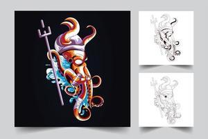 bläckfisk robot konstverk illustration