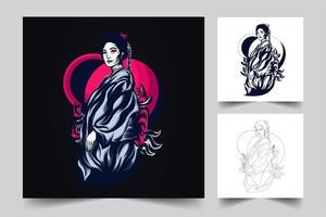 Geisha Kunstwerk Illustration vektor
