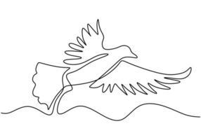kontinuerlig en linje ritning. flygande duvdjur. vektor