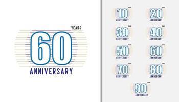 uppsättning årsdagen logotyp uppsättning vektor