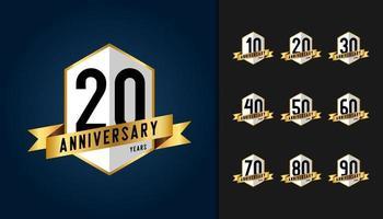 uppsättning årsdagen logotyp vektor
