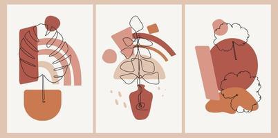Sammlung abstrakter Boho-Blumenkunst für Wanddekoration vektor