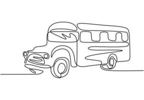 Schulbus, eine Strichzeichnung. Kontinuierliche Einzelhand des Fahrzeugs, die regelmäßig zum Transport von Schülern verwendet wird. vektor