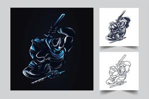 Ninja Artwork Illustration vektor