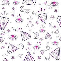 lutande sömlöst mönster med ockult illuminati-symboler vektor