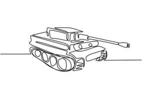 tank en linje ritning. ett pansarstridfordon som är utformat för strid i frontlinjen. vektor illustration armén motor, minimalism kontinuerlig handritad.