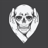 Zwei Hände bedecken die Ohren des Schädels
