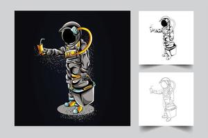 astronaut shoppar konstverk illustration vektor