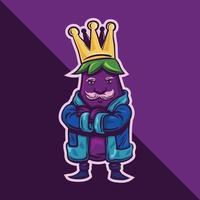 kung av aubergine logotyp karaktär maskot på tecknad stil