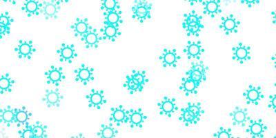 hellblaues, grünes Vektormuster mit Coronavirus-Elementen.