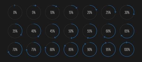 uppsättning cirkel procent diagram vektorillustration vektor