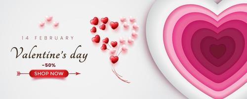 Werbebanner für Valentinstag Verkauf. weißer Hintergrund und Papierstilformen. vektor