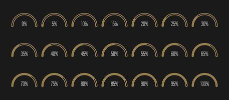 uppsättning halvcirkel procent diagram vektorillustration vektor