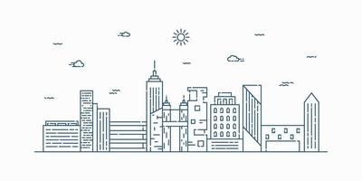stadslandskap linje konst vektor. tunn linje stadsbild med byggnad, moln, sol. vektor illustration.