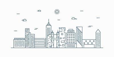 Stadtlandschafts-Linienkunstvektor. dünne Linie Stadtbild mit Gebäude, Wolken, Sonne. Vektorillustration. vektor