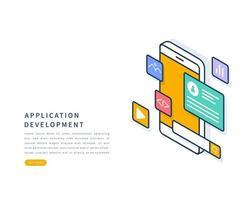 Konzept zur Entwicklung mobiler Anwendungen. Vektor isometrische flache Linie Illustration.