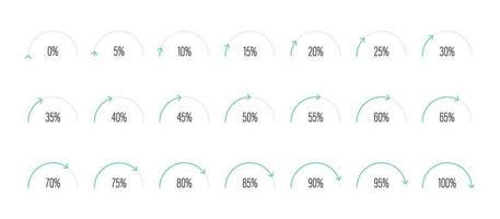 Satz von Halbkreisprozentsatzdiagrammen Vektorillustration