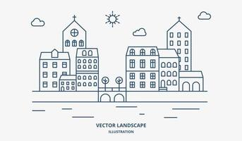 bylandskap med hus och träd. förortslandskap platt linje design. vektor