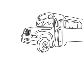 eine Strichzeichnung des Bustransports. Vektorbus. eine Linie Stil Reiseillustration. vektor