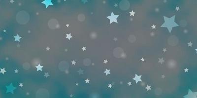hellrosa, blaue Vektorbeschaffenheit mit Kreisen, Sternen.
