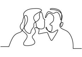 Paar Minimalismus. einzeiliger Mann und Frau küssen sich. vektor