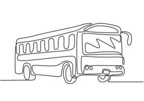 eine Strichzeichnung des Schulbusses. regelmäßig verwendet, um Studenten zu transportieren. vektor
